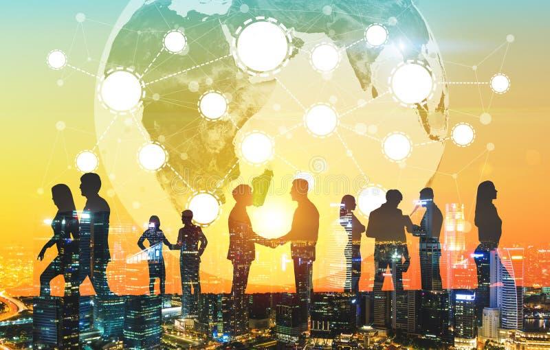 Gente di affari e rete, città immagini stock libere da diritti