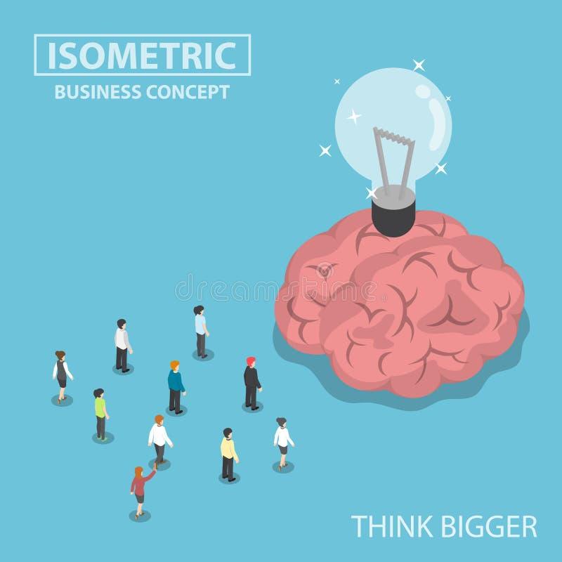Gente di affari isometrica che sta davanti al grande cervello e illustrazione vettoriale