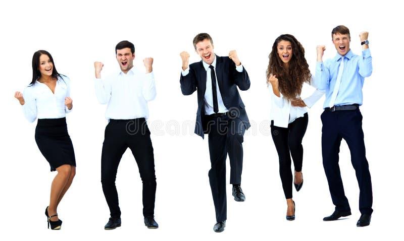 Gente di affari molto felice di salto immagini stock libere da diritti