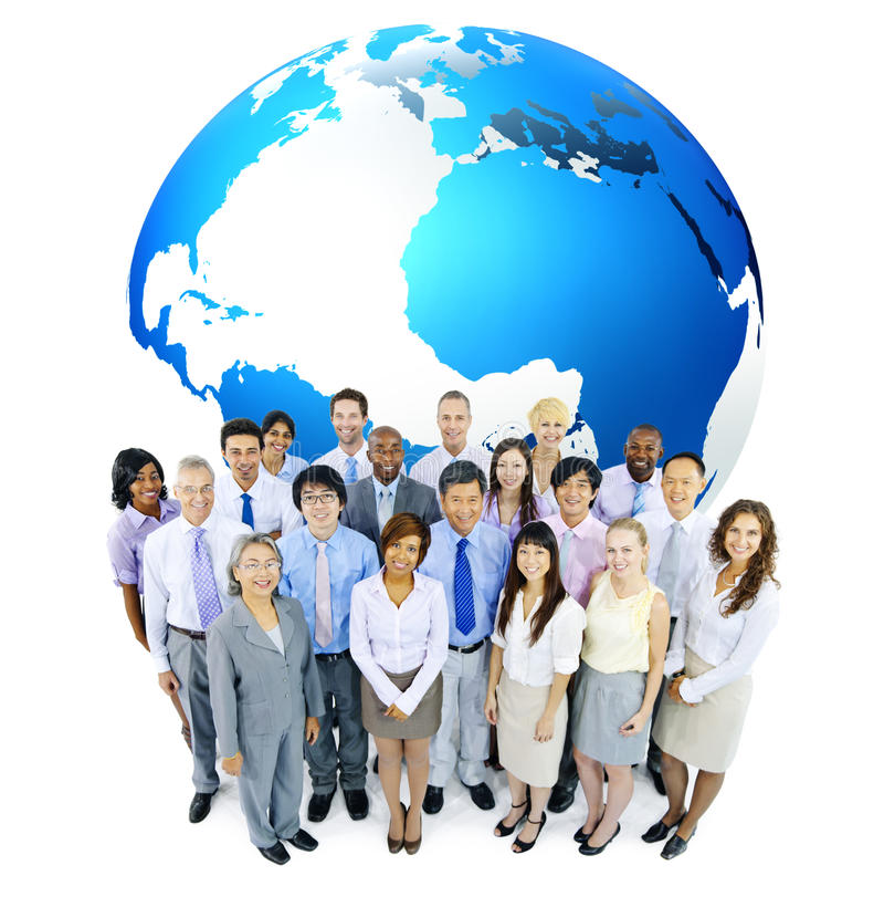 Gente di affari multietnica con il globo immagine stock libera da diritti