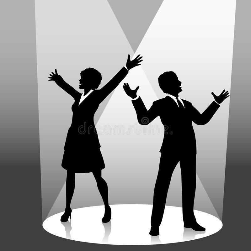 Gente di affari in riflettore illustrazione vettoriale