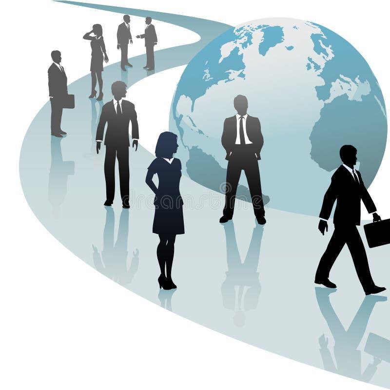 Gente di affari su progresso futuro del percorso del mondo illustrazione di stock