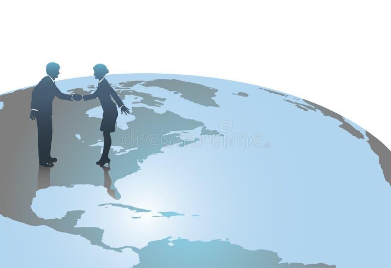 Gente di affari sulla riunione del globo del mondo negli Stati Uniti illustrazione di stock