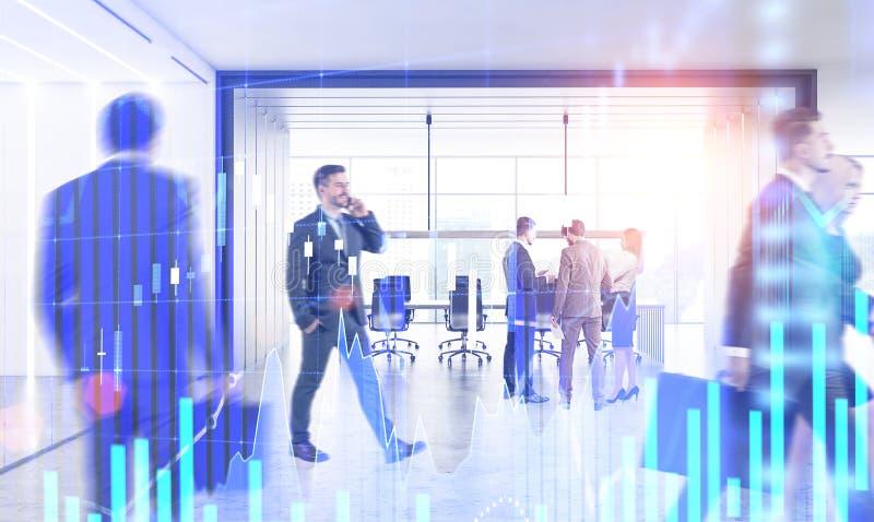 Gente di affari in ufficio, grafico dei forex immagini stock
