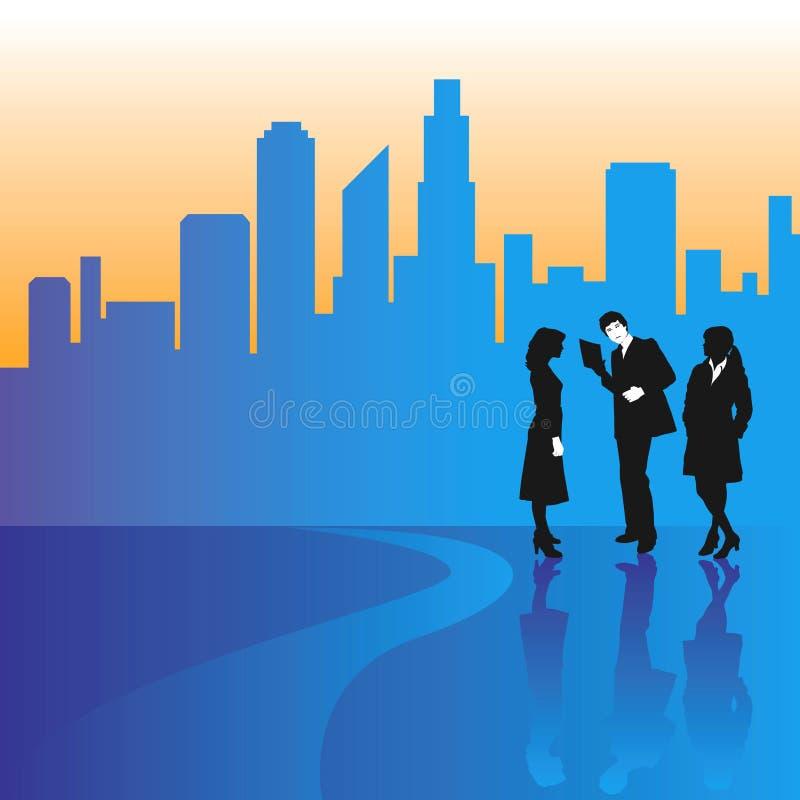 Gente di affari in una città royalty illustrazione gratis