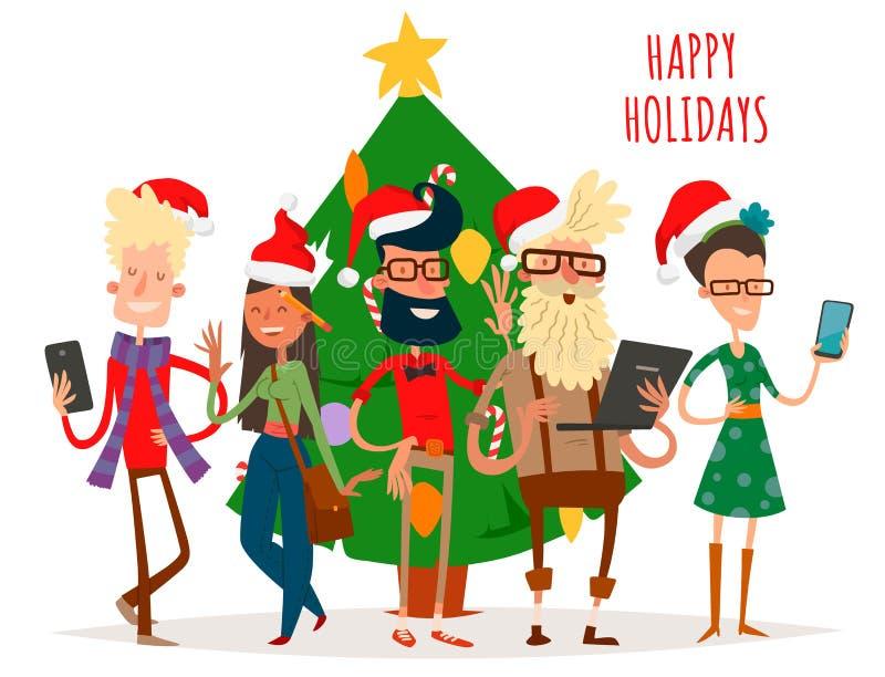 Gente di affari di vettore della cartolina d'auguri di Natale del fondo dell'insegna di feste di inverno di natale della mano del illustrazione vettoriale