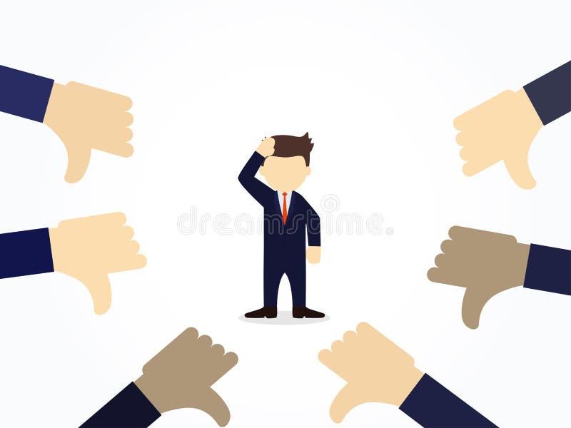 Gente di funzionamento del fumetto piccola con i pollici giù la mano intorno Illustrazione di vettore per progettazione di affari royalty illustrazione gratis