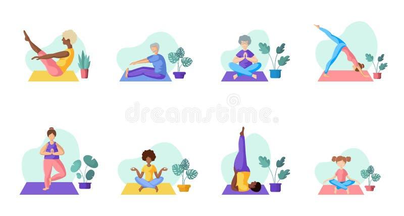 Gente diferente del yoga libre illustration