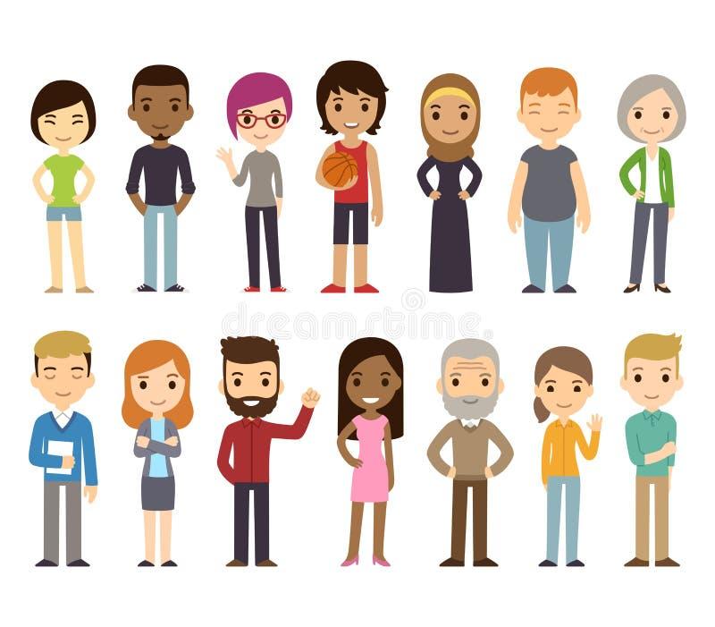 Gente diversa de la historieta stock de ilustración
