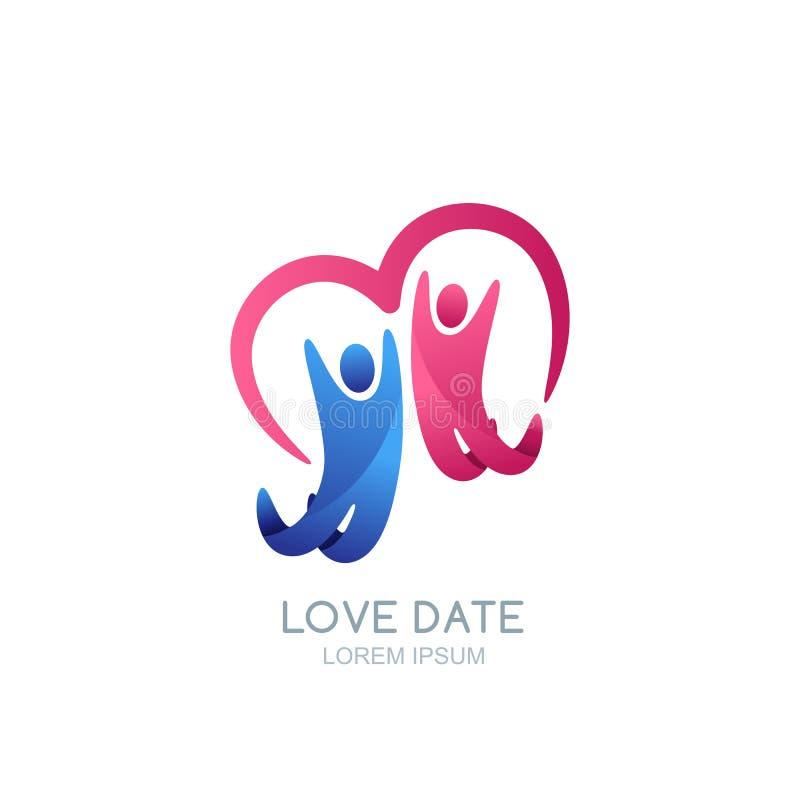 Gente e cuore felici astratti Modello di progettazione di logo di vettore Illustrazione dell'uomo e della donna, della famiglia o illustrazione vettoriale