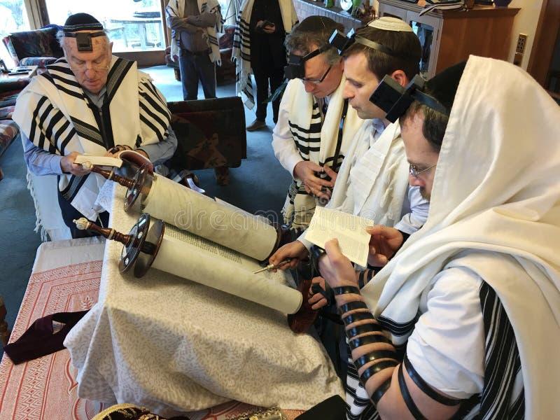 Gente ebrea che legge dal Torah immagini stock