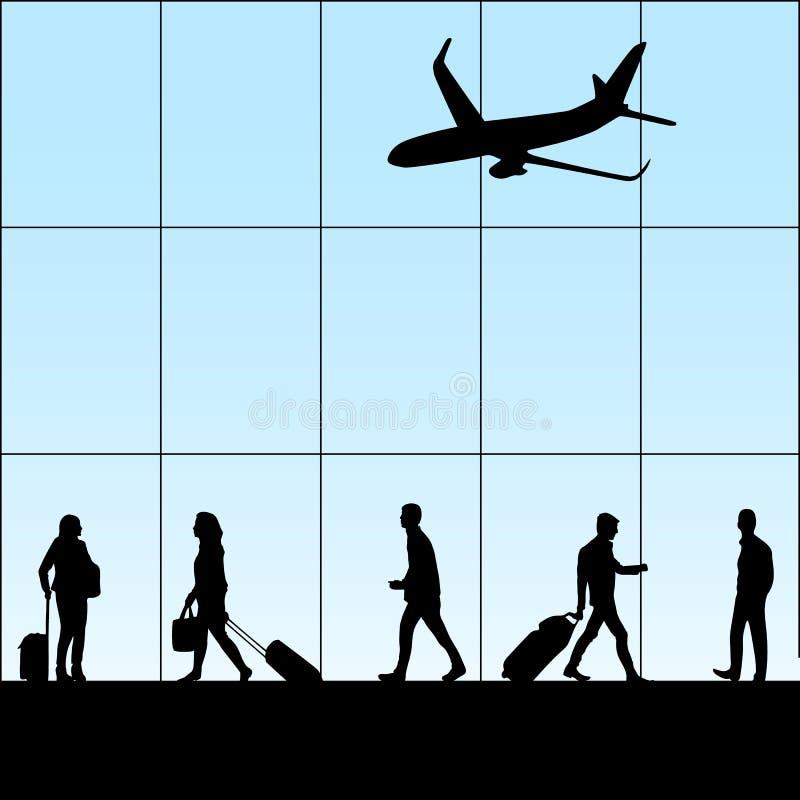 Gente en aeropuerto stock de ilustración