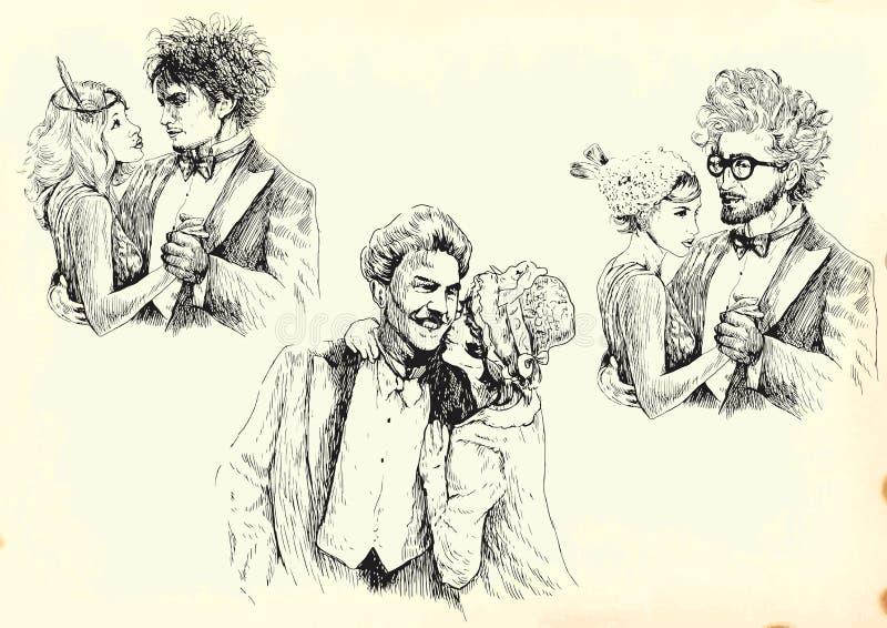 Gente en amor stock de ilustración