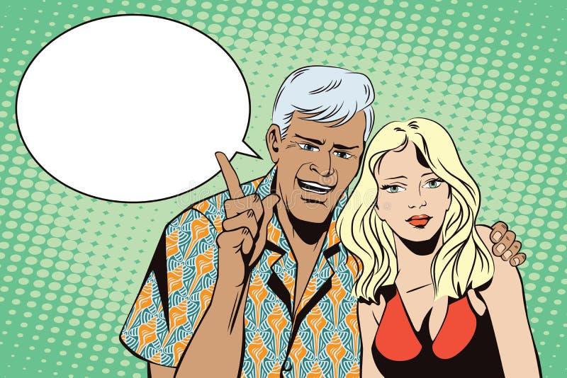 Gente en arte pop del estilo y la publicidad retros del vintage El hombre con una muchacha quiere atraer la atención ilustración del vector
