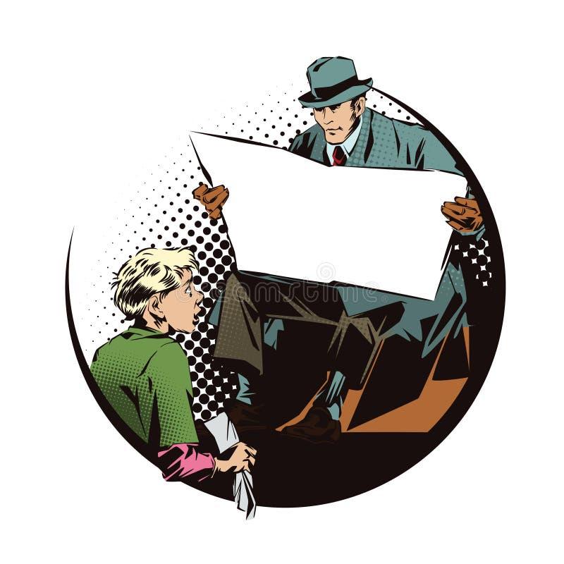 Gente en arte pop del estilo y la publicidad retros del vintage El muchacho limpia al hombre de las botas con un periódico Periód libre illustration