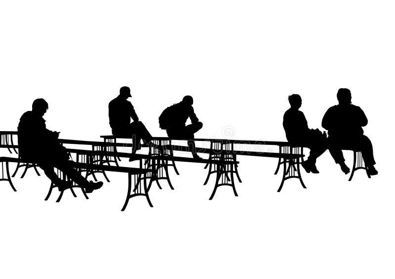 Gente en bancos de parque stock de ilustración