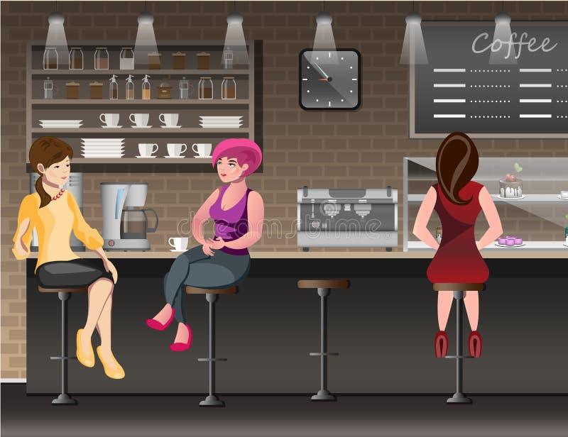 Gente en barra stock de ilustración