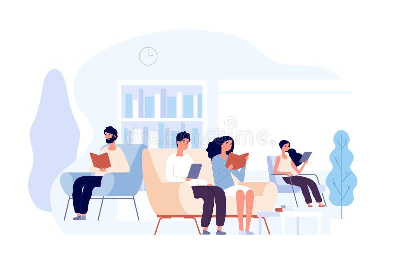 Gente en biblioteca Libros de lectura de las personas que se sientan en silla Estudiantes que estudian conocimiento de la univers stock de ilustración
