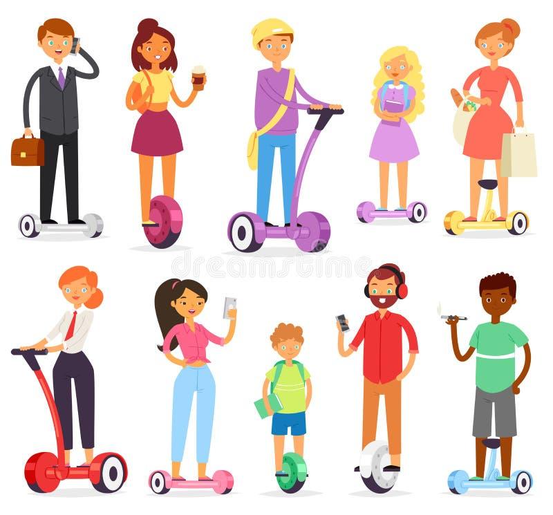Gente en carácter del vector del hoverboard en segway y hombre de negocios en el sistema del ejemplo del gyroscooter del hombre q libre illustration