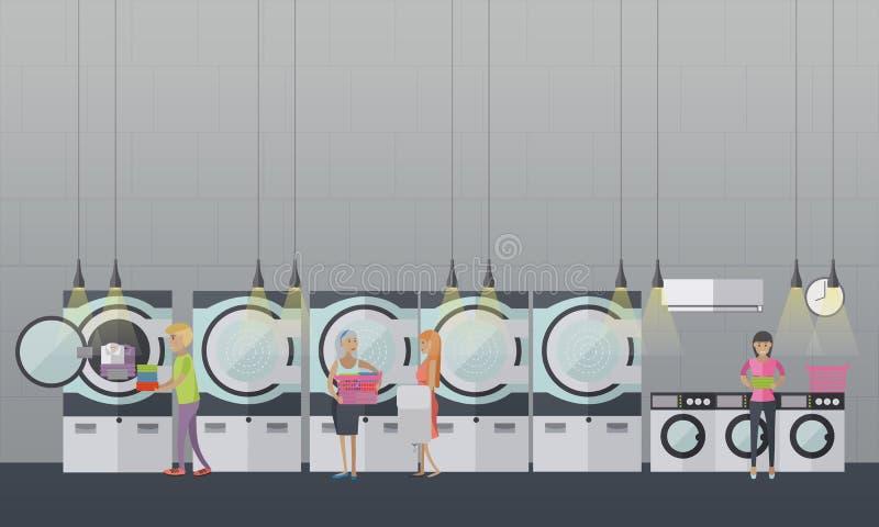 Gente en cartel del vector del lavadero de autoservicio Bandera del interior del sitio ilustración del vector