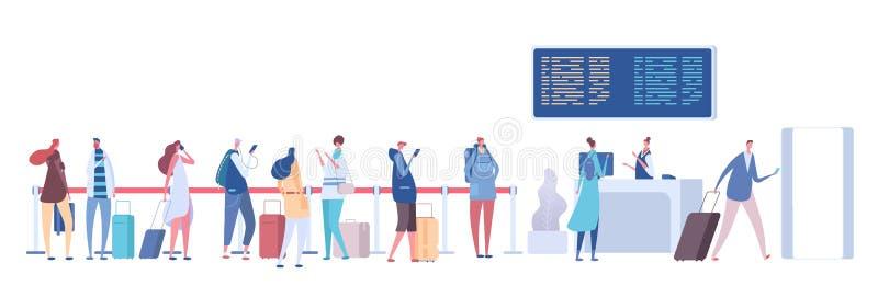 Gente en cola del aeropuerto Equipaje de los pasajeros en la línea, registro del incorporar en terminal Vector de la salida de la ilustración del vector