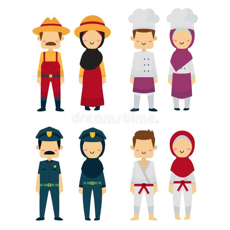 Gente en diversas profesiones en el fondo blanco stock de ilustración