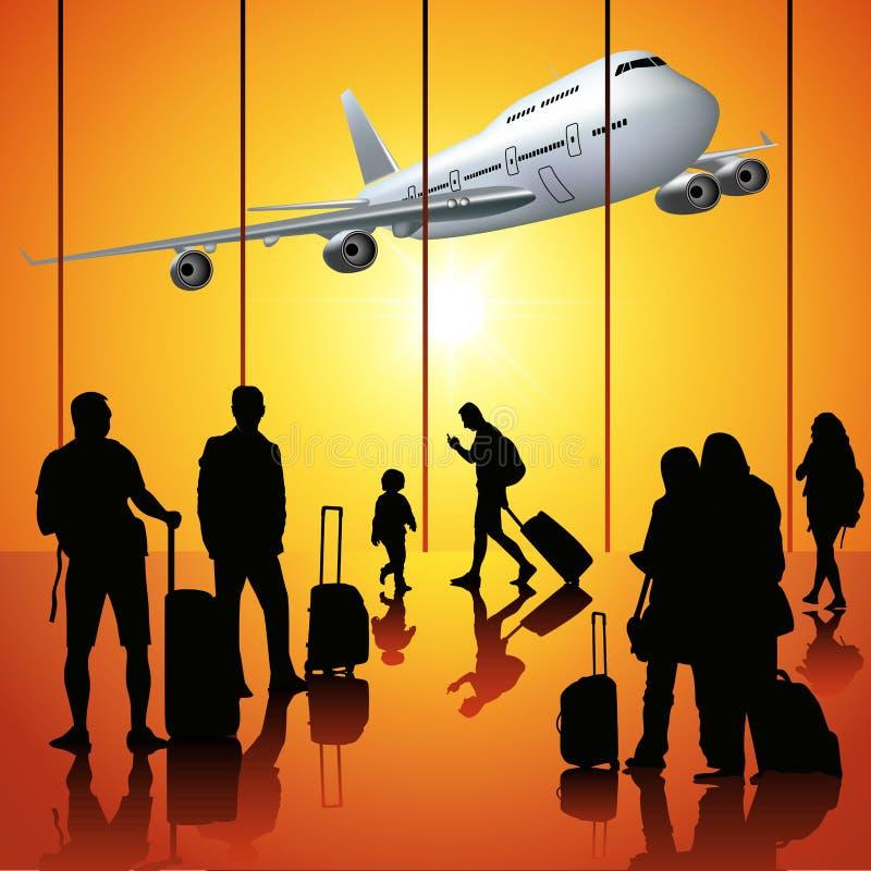 Gente en el aeropuerto stock de ilustración