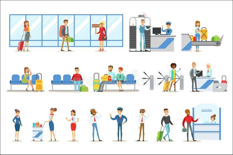 Gente en el aeropuerto interior, pasando procedimientos de seguridad, esperando el vuelo y llegando al destino stock de ilustración