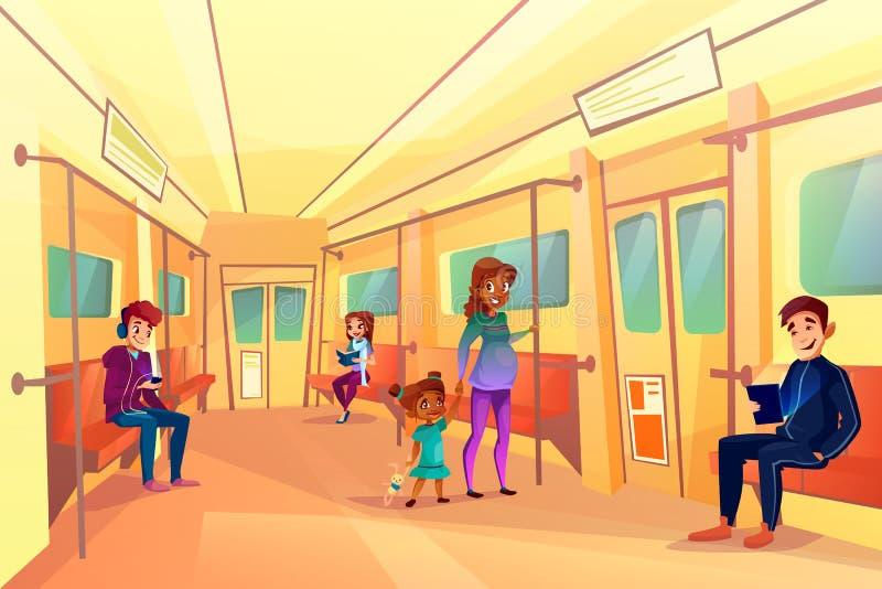 Gente en el ejemplo del vector del tren del metro del subterráneo libre illustration