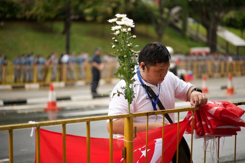 Gente en el entierro de estado de Lee Kuan Yew fotografía de archivo