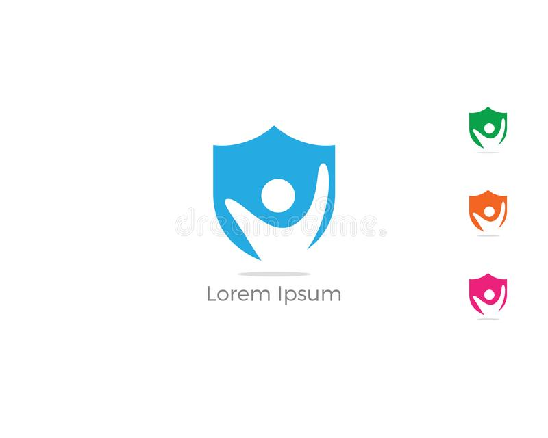 Gente en el icono del escudo, diseño del logotipo de la compañía de seguros cuidado de los niños y símbolo de la seguridad libre illustration