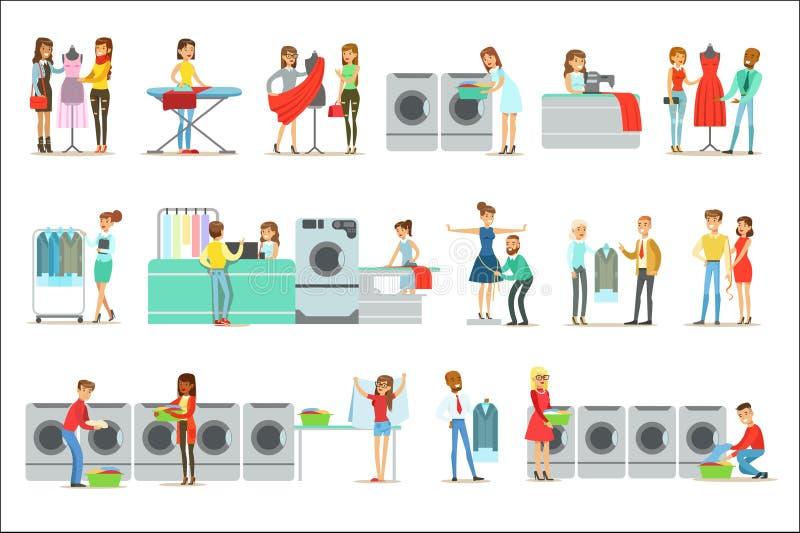 Gente en el lavadero, la limpieza en seco y el sistema del servicio de la adaptación de personajes de dibujos animados sonrientes ilustración del vector