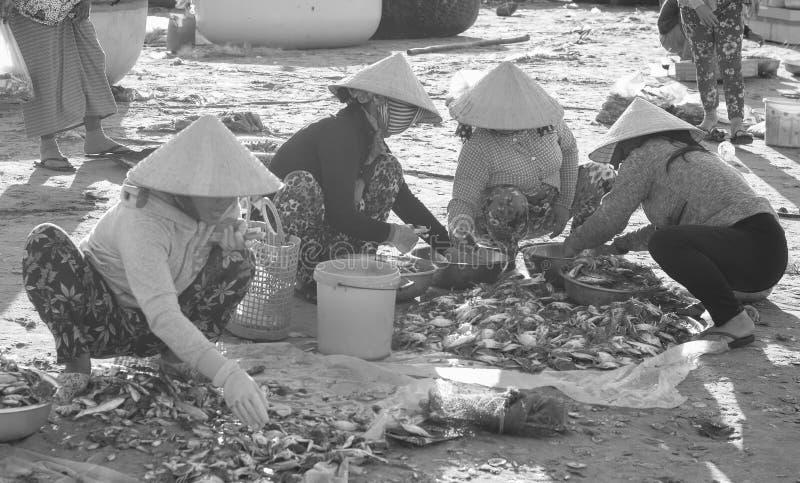 Gente en el mercado local en Nha Trang, Vietnam foto de archivo libre de regalías