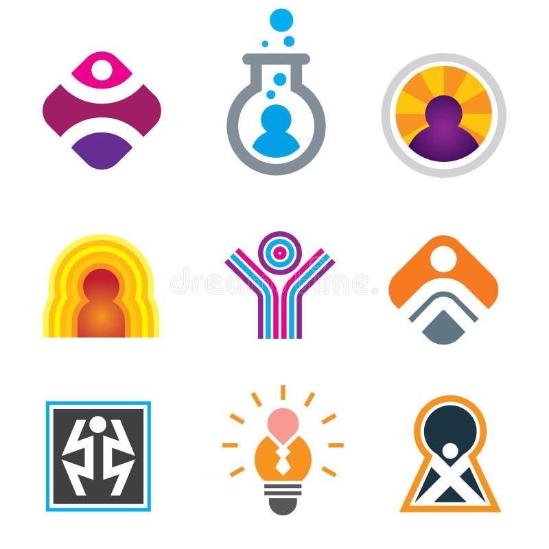 Gente en el objeto apenas que es impresionante en símbolos creativos del genio stock de ilustración