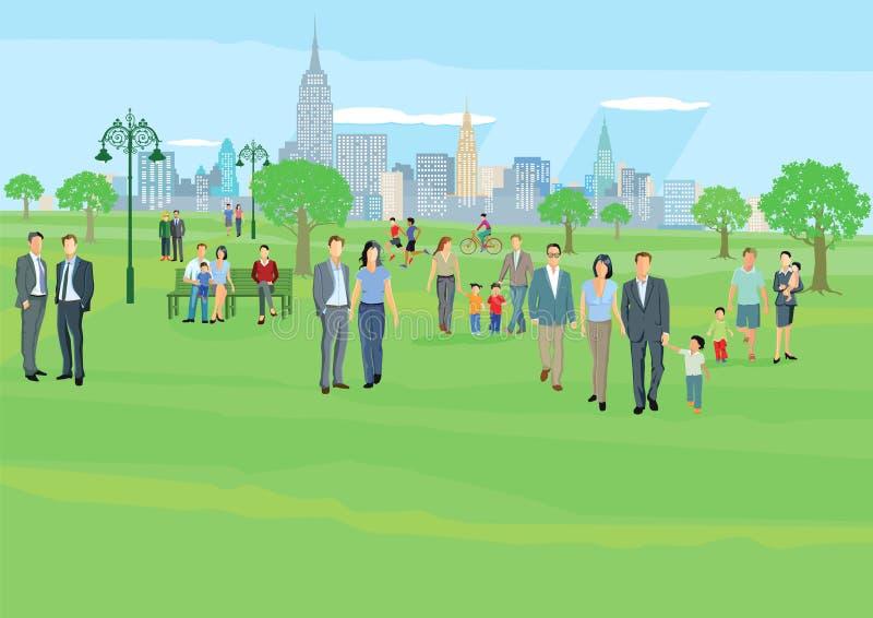 Gente en el ocio en parque libre illustration