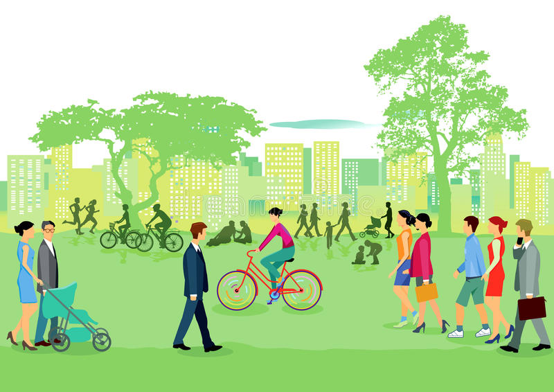 Gente en el ocio en parque ilustración del vector