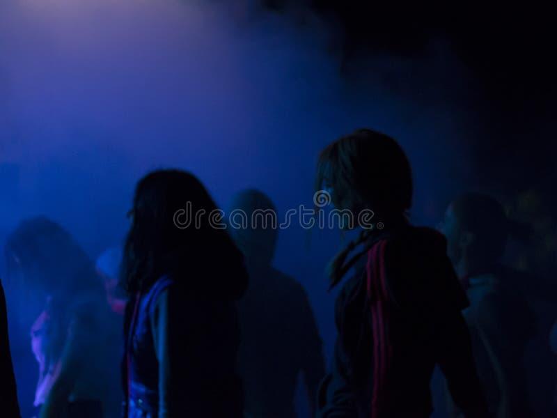 Gente en el partido del aire abierto Bailando, bebiendo y divirtiéndose imagenes de archivo