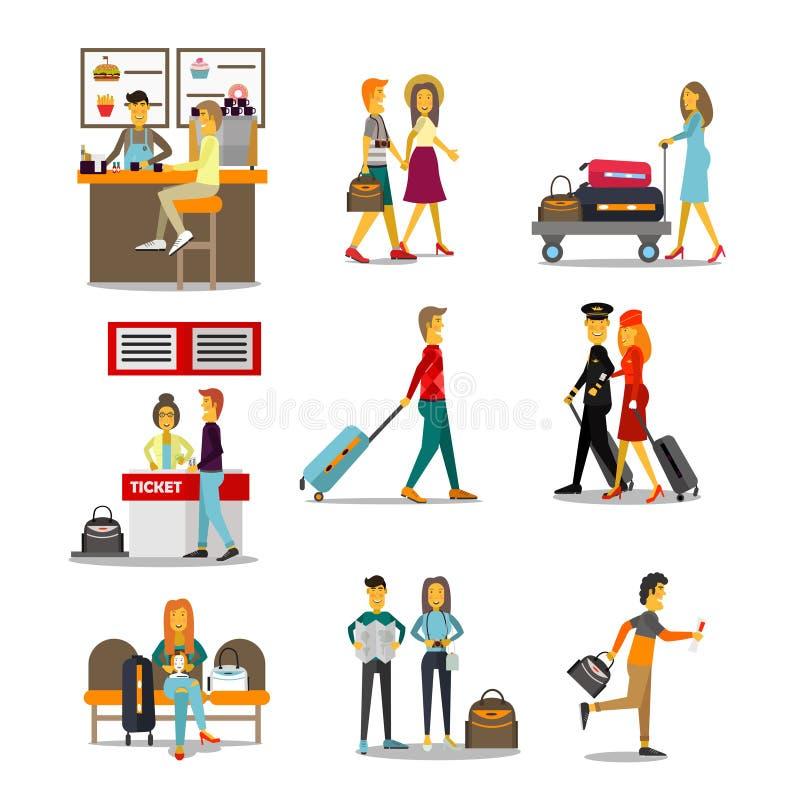 Gente en el paso del aeropuerto libre illustration