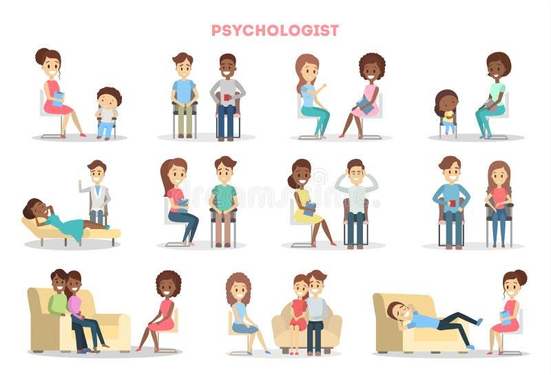 Gente en el psicólogo libre illustration