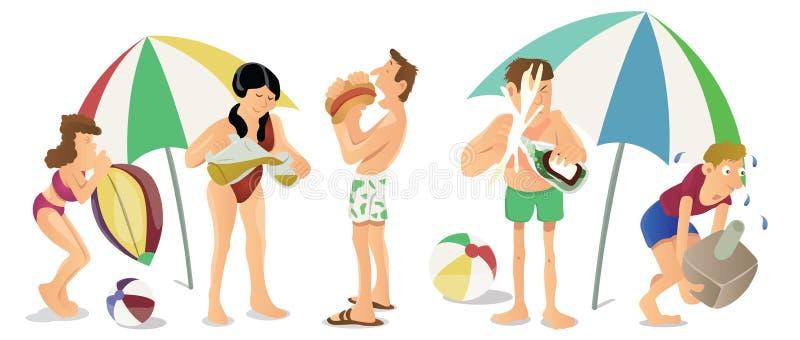 Gente en el vector de la historieta de la playa stock de ilustración