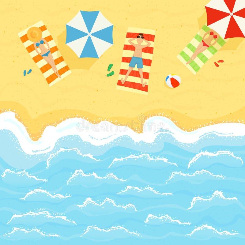 Gente en el verano Sandy Beach y el océano ilustración del vector
