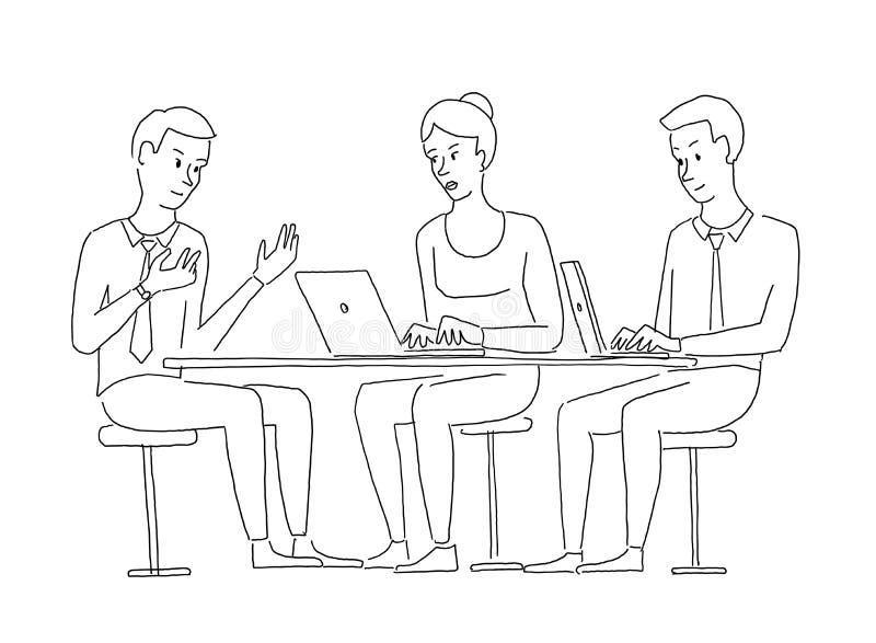 Gente en entrevistarse con de la tabla Comisión del trabajo del reclutamiento Explicación del proyecto Situación de asunto Mano ilustración del vector