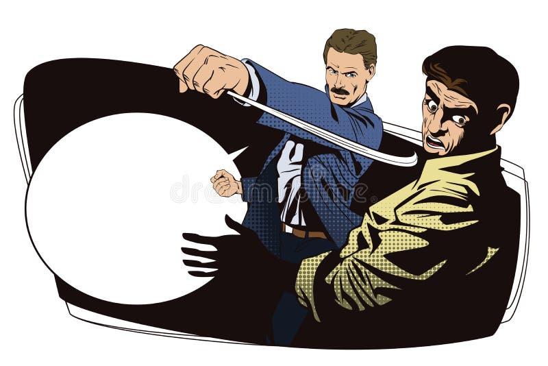 Gente en estilo retro Lucha de dos hombres stock de ilustración