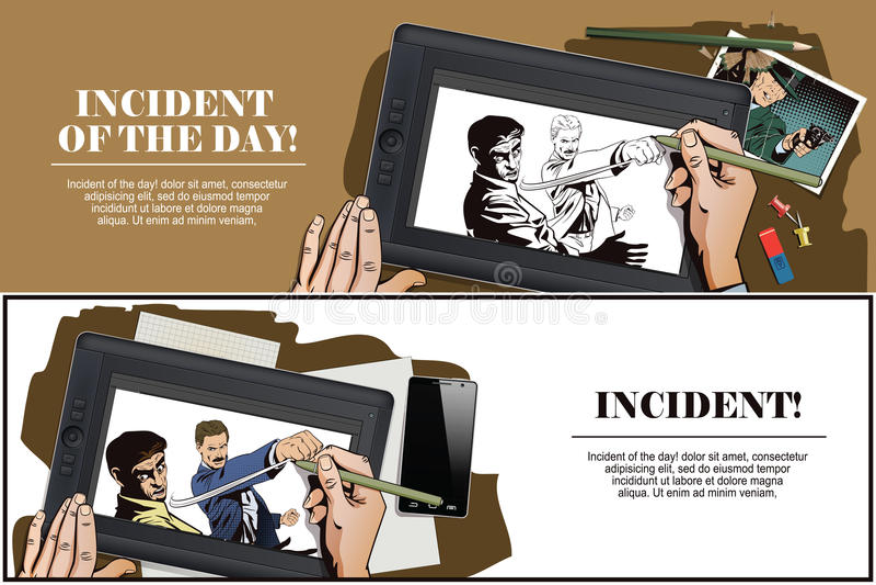 Gente en estilo retro Lucha de dos hombres ilustración del vector