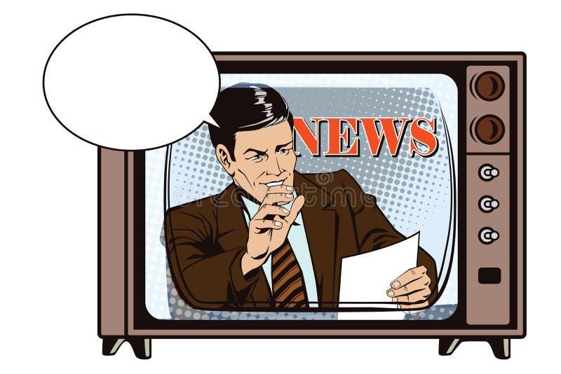 Gente en estilo retro Un hombre lee los documentos Noticias, y fac ilustración del vector
