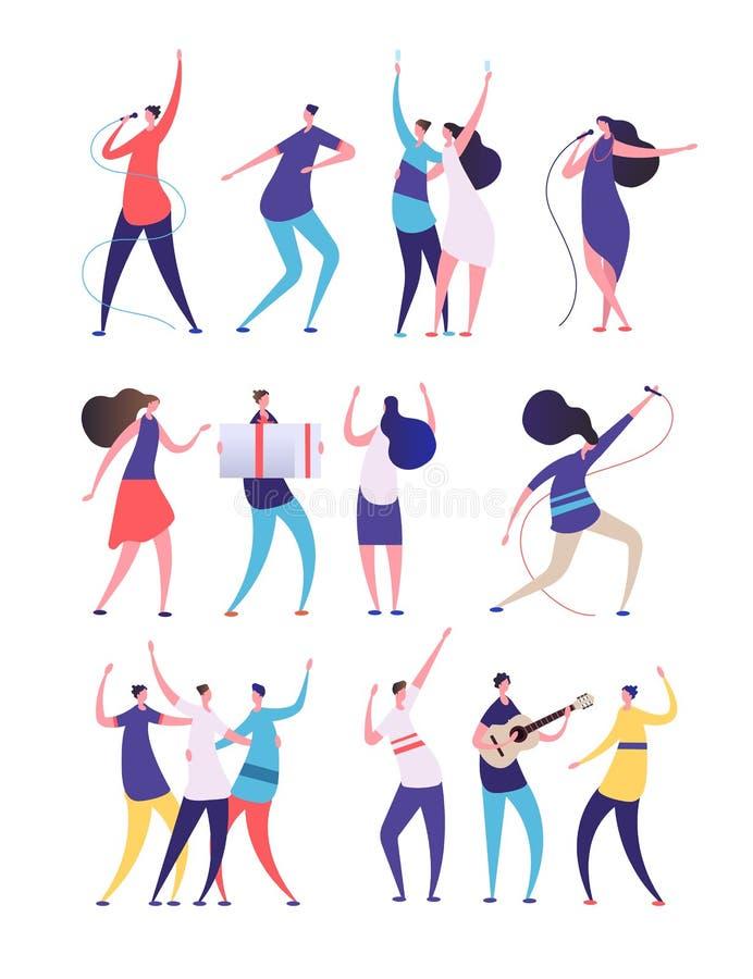 Gente en fiesta de cumpleaños Las mujeres de los hombres de la historieta cantan, bailan la guitarra del juego, vidrios del tinti ilustración del vector