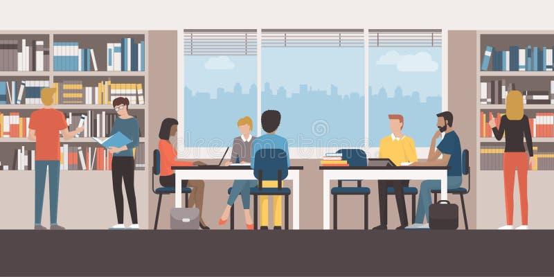 Gente en la biblioteca pública stock de ilustración