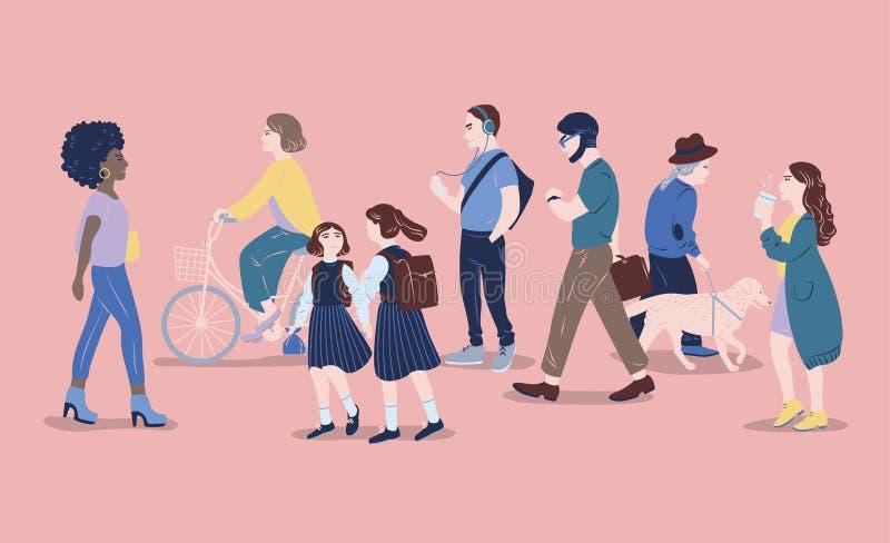 Gente en la calle Los hombres y las mujeres de diversa edad que pasan cerca, caminando, colocándose, bicicleta que monta, escucha libre illustration