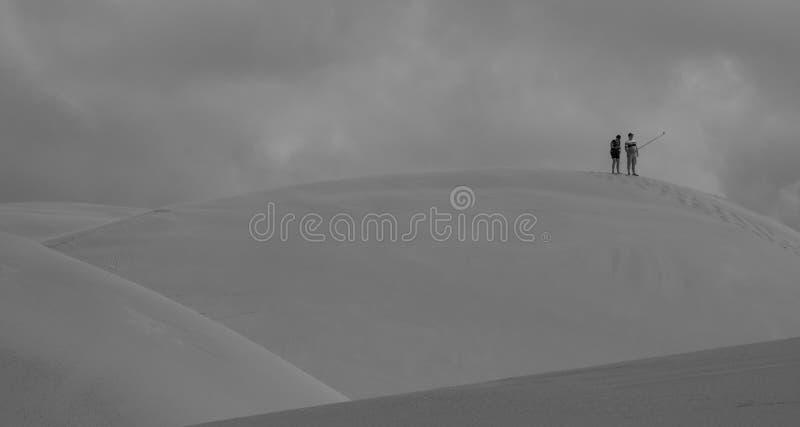 Gente en la cima de las dunas, en los campos costeros de la duna de Alexandr?a cerca de Addo/de Colchester, Sur?frica imágenes de archivo libres de regalías