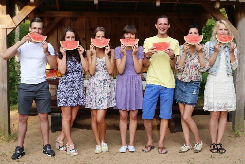 Gente en la comida campestre fotografía de archivo